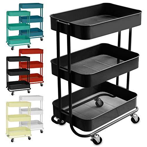 casa pura Design Allzweckwagen mit 3 Etagen - Rollwagen bis 24 kg belastbar - Servierwagen mit 2 Bremsen - Beistellwagen für Küche, Bad, Büro - Korbwagen auf Rollen in 6 Farben (Schwarz)