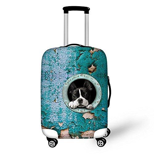 Equipaje de viaje ThiKin con elegante patrón de mascotas impreso en las maletas, de estilo personalizado, con duradera cubierta de licra a prueba de arañazos y funda protectora para el carrito, de 45,7cm x 71,1cm (tamaños S, M y L) — diseño animal, DOG1