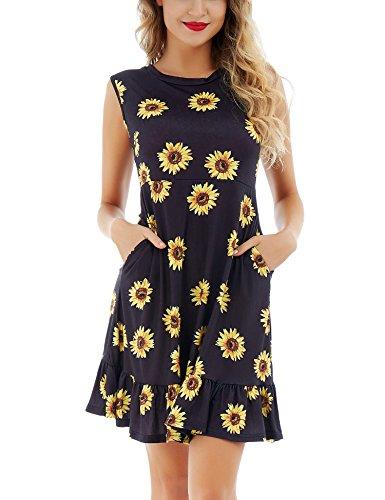 Dromild Blumenkleid mit Blumenprint - V-Ausschnitt plissiert ausgestelltes Kleid mit gelben Blumen - Gelbe Blume L (Jumper V-ausschnitt Plissee)