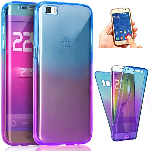 ikasus Huawei P8 Lite Etui TPU Full Body 360 transparent Gradient Color dégradé TPU Silicone Coque de protection crystal Transparent double Full Body Cover Silicone Coque Case Housse Etui,Bleu Violet