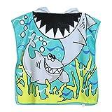 VWH Enfants Poncho à Capuche Serviettes Cartoon Garçon Fille Serviettes de Bain pour Piscine Beach (Requin #2)