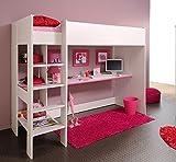 expendio Hochbett Snoopy 3, 108x206x180cm mit Schreibtisch, Kiefer-Nb weiß, Kinderbett