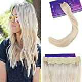 LaaVoo 18Zoll Flip in Hair Extensions Echthaar Blond 80Gr Brazilian Halo Hair Echt mit Unsichtbar Faden Flip on Extension Glatt