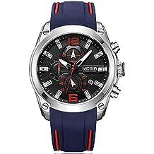 Relojes para Hombre Sport, Reloj Grandes esferas, Relojes Militar de Lujo de Silicona Azul