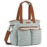 Plambag Canvas PU Baby Wickeltasche Mama Shopper Tasche mit Wickelunterlage(Grün-weiß Streifen)