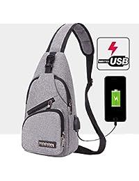 1c01240a68f5 Bum Bag Homme Sac en Bandoulière Sac De Poitrine Chargement USB Poids Léger  Polyvalent Sac De Mode Sac De Sécurité Tissu Oxford Sac…