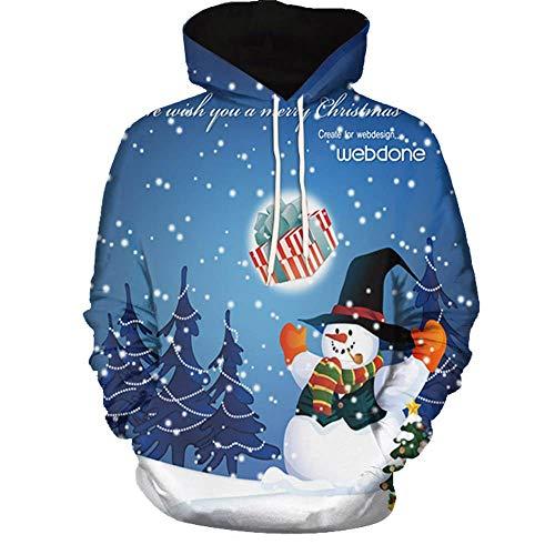 (SEWORLD Weihnachten Vintage Christmas Männer Frauen Modus 3D Weihnachten Drucken Langarm Paare Hoodies Top Bluse Shirts(Mehrfarbig6,EU-48/CN-5XL))