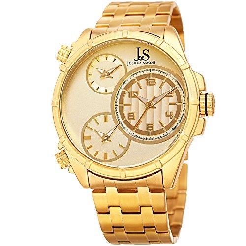 Joshua & Sons uomo in acciaio INOX casual orologio al quarzo, colore: gold-toned (Model: JX128YG)