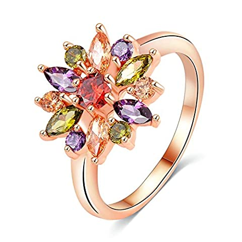 Epinki Damen Heiratsantrag Ring Trauringe Solitärring Cubic Zirkonia Blumen Farbige Perlen Bunt Gr.60 (19.1)