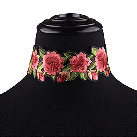 Choker Necklace Embroidery Flower Vintage Flowers Choker Lace Gothic for