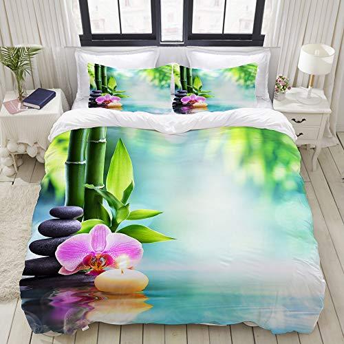 ALLMILL Bettwäsche-Set, Mikrofaser,Grüner Zen Spa Still Life Candle und Stein mit Bambus in der Natur auf Wasser-Orchidee,1 Bettbezug 135 x 200cm+ 2 Kopfkissenbezug 80x80cm -
