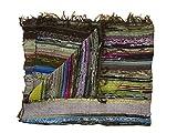 Tapis chindi indien - Fait à la main avec des bouts de tissu multicolores recyclés - Tapis décoratif style Boho - 150 x 90 cm (Brown)...
