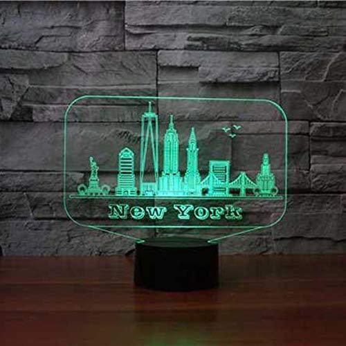 Nueva York EE. UU. Edificio 3D RGB Luz de la noche 7 colores cambiantes dormitorio de los niños 3D Lámpara de mesa de escritorio para la lámpara de ambiente de hogar