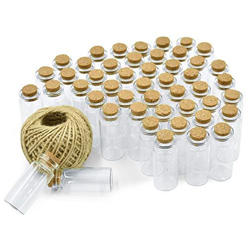 Wandefol 48 mini bottiglietta vetro con tappo sughero 5 ml bomboniera per lavanda bigliettini sabbia perline liquido spezie, boccettine fiala vaso