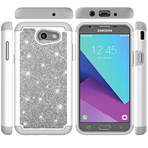Samsung Galaxy J7 V / J7 2017 / J7 Prime / J7 Perx / J7 Sky Pro/Galaxy Halo Case, Tznzxm Luxus 2 in 1 Dual Layer Heavy Duty Stoßfest Bling Sparkly Defender Schutzhülle für Samsung J7 2017 grau (Verizon-handys Kompatibel)