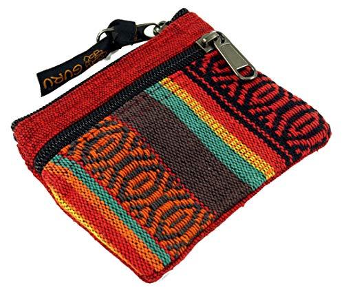 Guru-Shop Ethno Portemonnaie, Geldbeutel - Rot, Herren/Damen, Baumwolle, Size:One Size, 9x11 cm, Portemonnaies aus Stoff