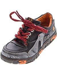 999e1264b47122 TMA Comfort Damen Sneakers Leder Schuhe Schwarz Grün Weiß Gelb Turnschuhe  Schnürer Halbschuhe