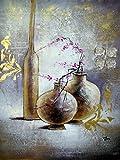 Orientalische Blumen-Vase, Kirschblüten - große Kunst-Ölgemälde - Hervorragende Qualität und Handwerkskunst, handgefertigte Wandkunst, handgefertigte Wandkunst, Von Rflkt