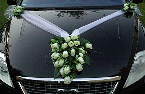 SPITZE STRAUß Auto Schmuck Braut Paar Rose Deko Dekoration Autoschmuck Hochzeit Car Auto Wedding Deko PKW (Weiß 2)