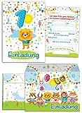 8 Einladungskarten zum 1. Kindergeburtstag für Jungen / Bunte Einladungen zum Geburtstag für Jungen Süße Tierchen / Süßer Löwe (8 Karten + 8 Umschläge)