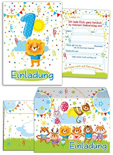 """12 Einladungskarten zum 1. Kindergeburtstag für Jungen/Mädchen incl. 12 Umschläge / bunte Einladungen zum Geburtstag für Jungen / Mädchen \""""Süße Tierchen / Süßer Löwe\"""" (12 Karten + 12 Umschläge)"""