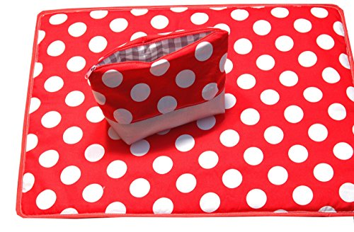 Wickelunterlage ( besonders für unterwegs ) mit passendem Täschchen für Creme usw., Kosmetiktäschen, Wickelset,Geschenkset für Baby