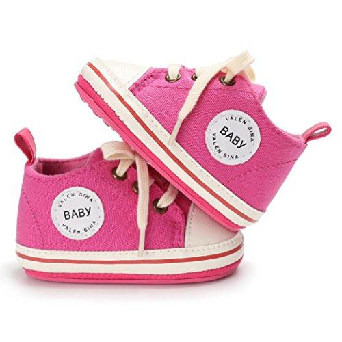 Hunpta Kleinkind Mädchen Jungen Krippe Neugeborene weiche alleinige Anti Rutsch Baby Segeltuch Schuh Turnschuhe Hot Pink