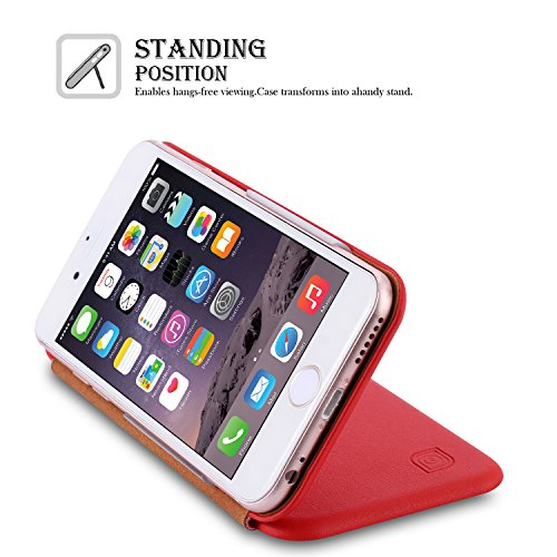 iPhone 7 Hülle, SpiritSun Ledertasche Schutzhülle für Apple iPhone 7 (4.7 Zoll) Ultra Slim Folio PU Leder Tasche Case Cover Bookstyle mit Standfunktion und Kredit Kartenfächer (Schwarz) Rot