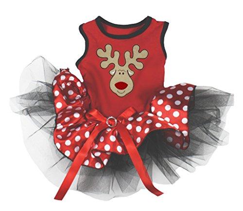 Hundekleid Weihnachtsmotiv, Rentier, gepunktet mit Strasssteinen