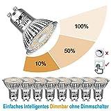 EACLL Gu10 LED Dimmbar Leuchtmittel 2700K Warmweiss 6W 570 Lumen Par16 Lampen, 3-in-1 lichtanpassung Birnen. 3-stufiges Dimmen mit normalem schalter. Dimmbar ohne Dimmer. 8 Pack