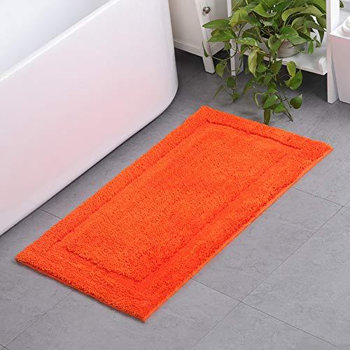 KKLTDI Rechteckig Absorbent Weich Badvorleger, rutschfest Mikrofaser Chenille Badematte Hochflor Waschbar Badezimmer Teppich Shag Dusche -orange 65x45cm(26x18in) -