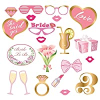 Wedding Photo Booth Props Kit, ANBET 21 PCS Bride to be Photo Posing Prop Funny Bridal Shower Photobooth Props for Wedding Hen Party Favor