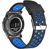 18mm 20mm 22mm Universal reloj bandas, FanTEK suave silicona Nike deporte liberación rápida correa de reloj pulsera para Huawei Watch/Samsung Gear S3/Pebble tiempo/Moto 3602nd Gen reloj - SWAAWBNE20BE, Negro/Azul