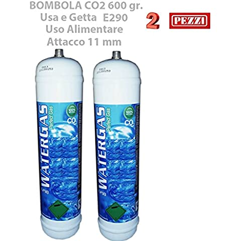 Set 2 Pezzi BOMBOLE CO2 600 gr. E290 MONOUSO Gasatori Acqua e Refrigeratori Attacco 11 mm passo 1 mm