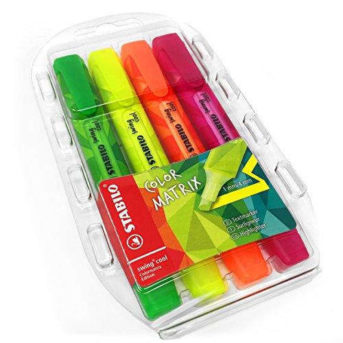 STABILO color Matrix Swing Cool Textmarker, grün, pink, orange, gelb–Brieftasche–von 4–275/4–07 (Zazzle Zebra Textmarker)