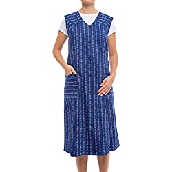 Tobeni Damen Kittelschürze Knopf-Kittel in 100 Baumwolle ohne Arm mit Taschen Farbe Design 12 Grösse 56