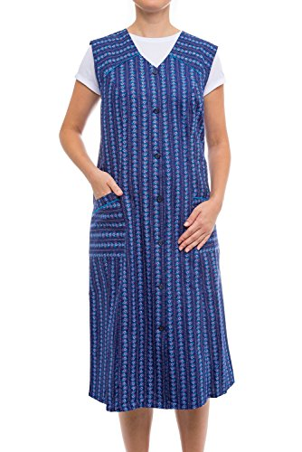 Tobeni Damen Kittelschürze Knopf-Kittel lang in 100% Baumwolle ohne Arm mit Taschen Farbe Design 12 Grösse ()