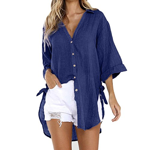 Lazzboy Womens Casual Loose Button Long 3/4 Sleeve Tunic Tops T Shirt Blouse