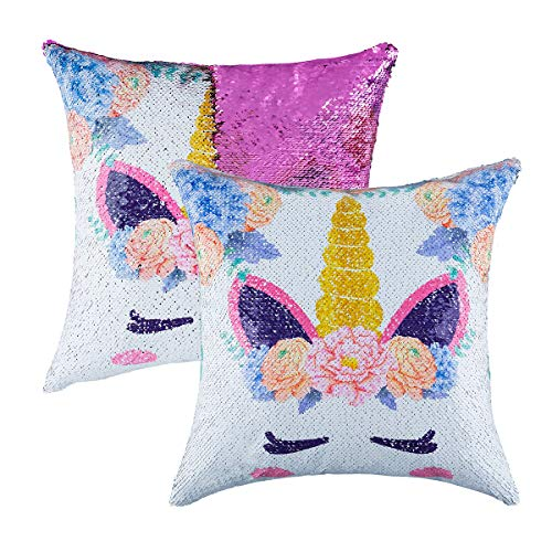 Mermaid Sequin Throw Pillow Case Reversible Sequin Glitter Pillow Cover with Zipper for Kids Decorative Cushion Cover for Couch Bed Sofa 16