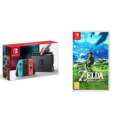 Nintendo Switch - Consola color Azul Neón/Rojo Neón + The Legend Of Zelda: Breath Of The Wild