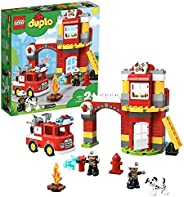 LEGO 10903 DUPLO Town Fire Station with Light and Sound, Fire Engine and 2 Firemen Figures, Toy for Kids Age 2