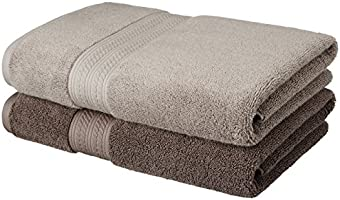 Solimo Ultra-Soft 100% Cotton 2 Piece Bath Towel (Foggy Brown and Cedar Brown)