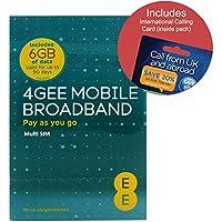 Love2surf EE 4G 6GB UK PAYG Trio Data SIM - Mobile Broadband - 6GB + International Calling Card RETAIL PACK