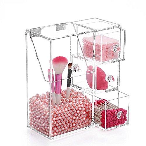 TuTu Clear Acrylic Pearl Box Cosmetic Case Porte-crayons à lèvres Organiseur de maquillage Cotton Swab Box Écran cosmétique avec tiroir , 1#