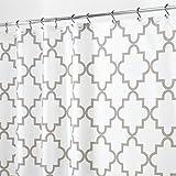 mDesign Duschvorhang Anti-Schimmel - Dusch- & Badewannenvorhang mit Gitter-Muster - Duschvorhang...