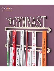 """Soporte para colgar medallas de gimnasia, doble riel, con palabra en inglés """"Gymnastic"""""""