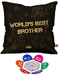 Indigifts Micro Satin, Fibre Bro Quote Printed Cushion Cover with Filler for Sibling (Brown and White)
