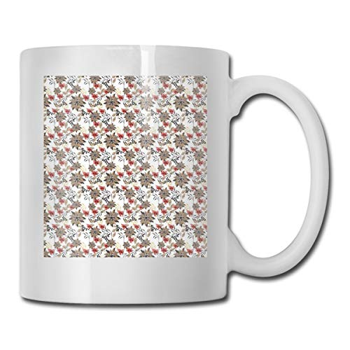 Jolly2T Funny Ceramic Novelty Coffee Mug 11oz,Beauty In The Nature Theme Nostalgic Blossoms and Leaves Artistic Garden Plants,Unisex Who Tea Mugs Coffee Cups,Suitable for Office and Home Blossom Demitasse Cup