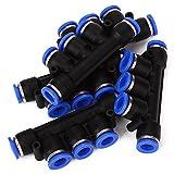 WEONE Ersatz 0-60 Grad Pneumatische Anschlüsse 5 Wege Union Triple-Schlauch 10 mm Messing und Polybutylen für Flüssigkeit (Packung mit 5)