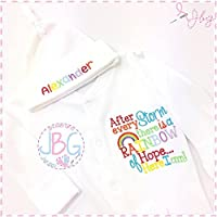 Personalised embroidered rainbow baby sleepsuit and hat set, After every storm baby clothing, baby shower gift
